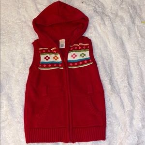 Gymboree red sweater hooded 5/6 girls